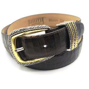 Brighton croc embossed leather belt in brown